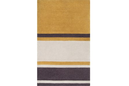 108X156 Rug-Benjamin Stripe Gold/Charcoal
