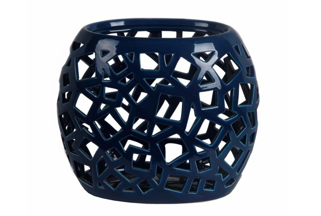 Geo Cutwork Vase Blue - 360