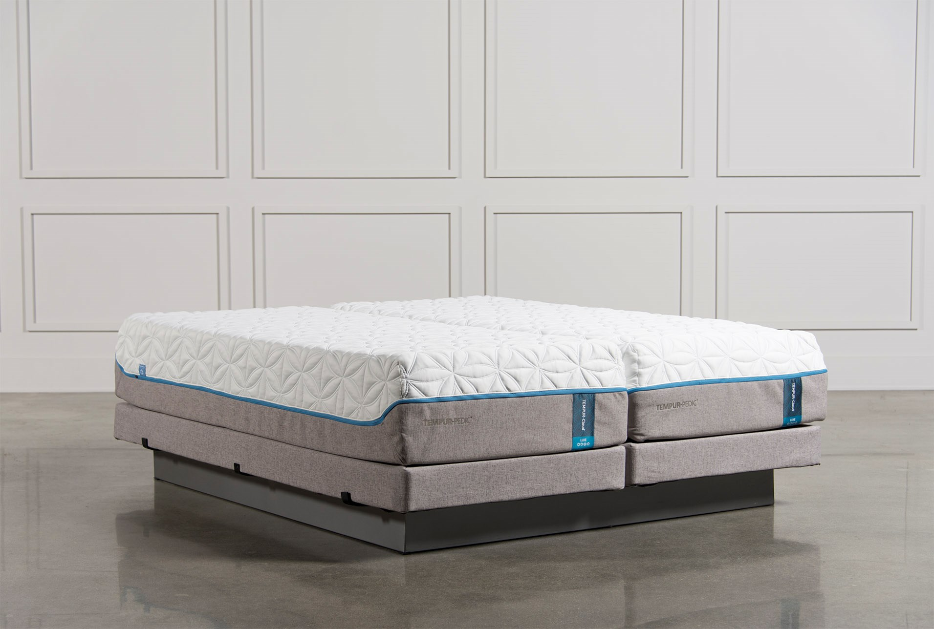 Tempur Pedic Cloud Luxe Cal King Split Mattress Set W Low Profile