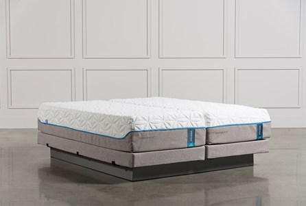 Tempur-Pedic Cloud Luxe Cal King Split Mattress Set W/Low Profile Foundation