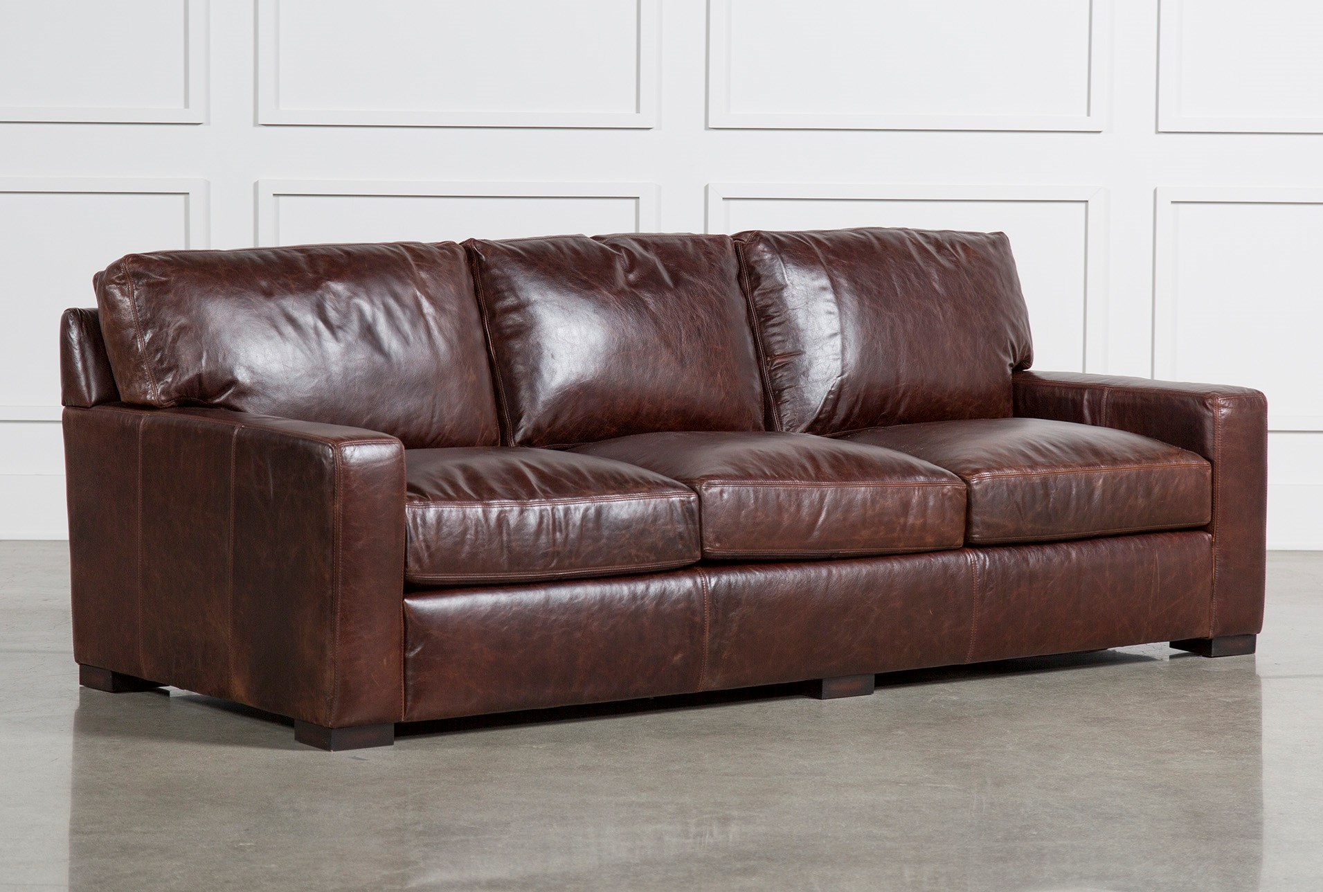 Gordon Sofa Living Spaces ~ Brown Leather Sofa With Studs