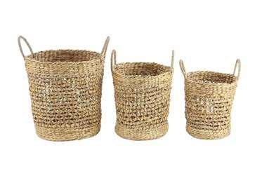 3 Piece Set Round Seagrass Baskets
