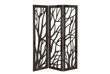 Panel Dark Brown Tree Floor Screen