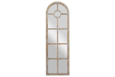 23X73 Grey Wash Wood + Metal Arch Grid Leaner Floor Mirror