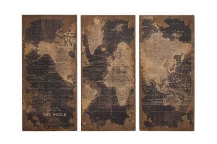 3 Piece Set Wood Map Wall Panels