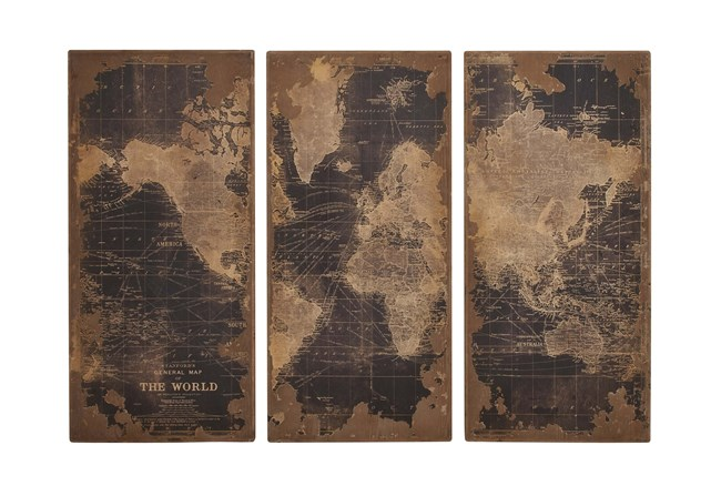 3 Piece Set Wood Map Wall Panels - 360