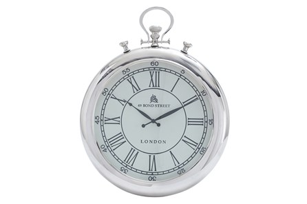 25 Inch Nickel Wall Clock - Main