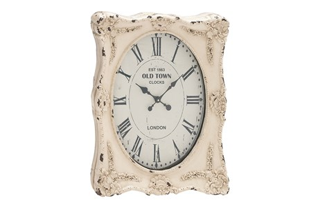27 Inch White Wash Wall Clock - Main