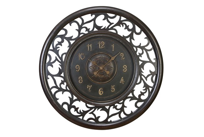 36 Inch Black Scroll Border Clock