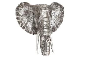16 Inch Silver Elephant Head