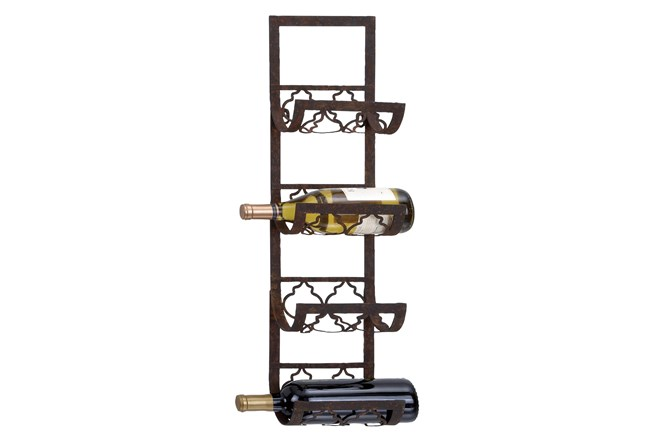 Brown Metal Wine Rack - 360