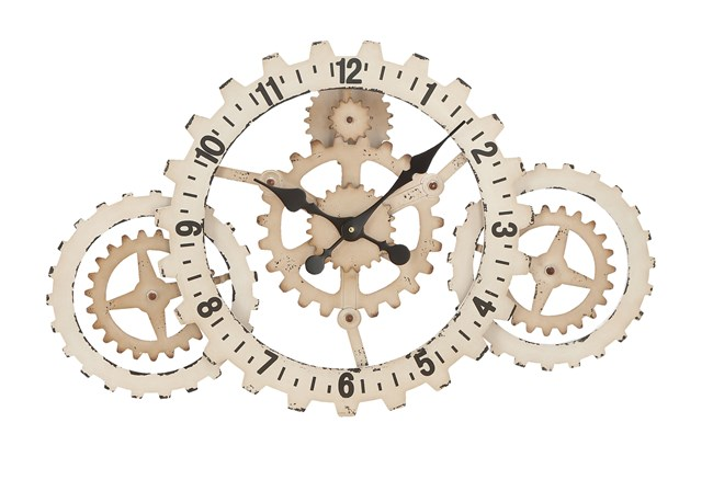 20 Inch White Gear Clock - 360