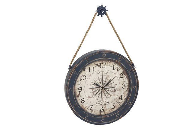 37 Inch Blue Nautical Clock - 360
