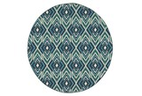 94 Inch Round Outdoor Rug-West Bay Ikat - Signature