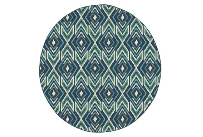 94 Inch Round Outdoor Rug-West Bay Ikat - 360