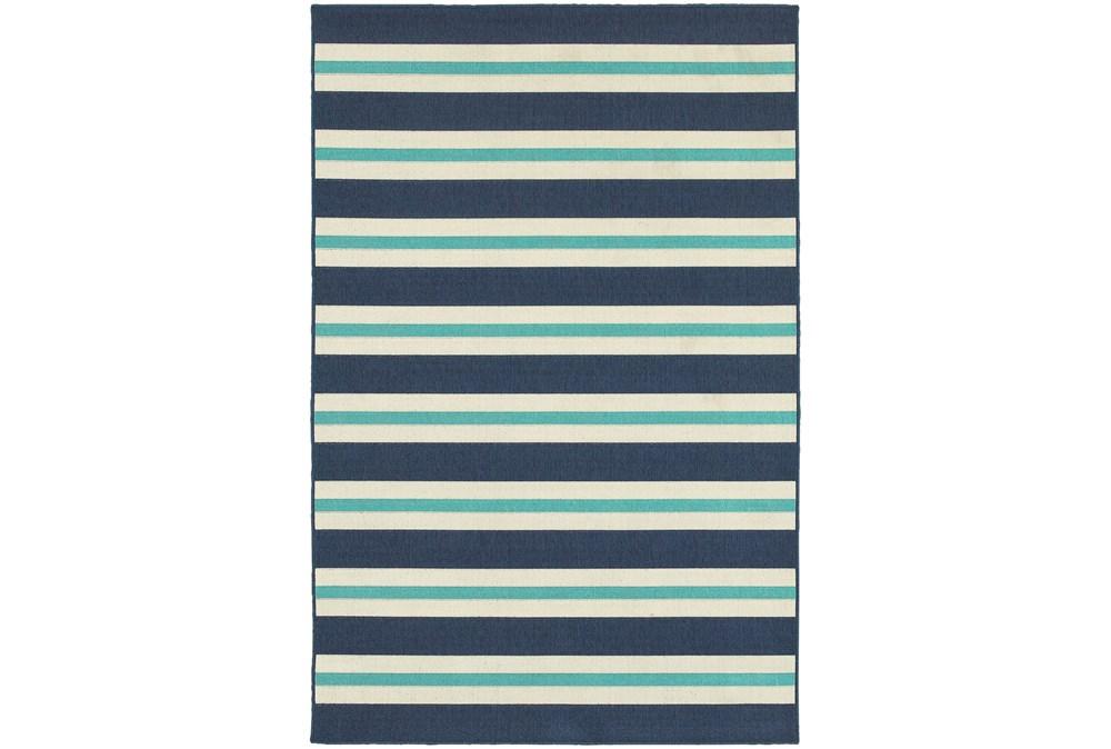 """2'3""""x7'5"""" Outdoor Rug-Cabana Stripes Blue"""