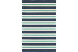 27X90 Outdoor Rug-Cabana Stripes Blue