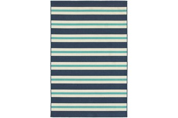 79X114 Outdoor Rug-Cabana Stripes Blue