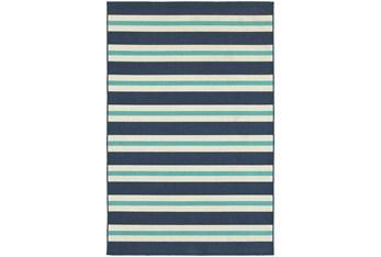 """6'6""""x9'5"""" Outdoor Rug-Cabana Stripes Blue"""
