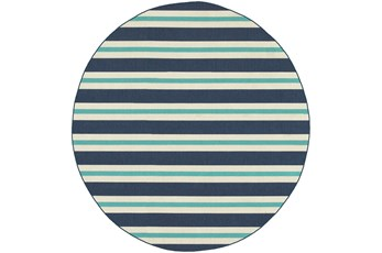 94 Inch Round Outdoor Rug-Cabana Stripes Blue
