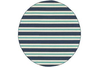 """7'9"""" Round Outdoor Rug-Cabana Stripes Blue"""
