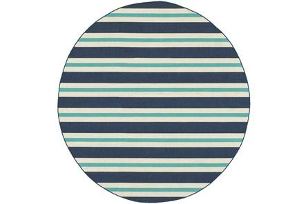 94 Inch Round Outdoor Rug-Cabana Stripes Blue