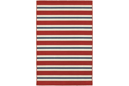 22X34 Outdoor Rug-Cabana Stripes Red