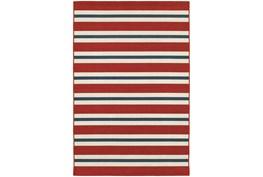 79X114 Outdoor Rug-Cabana Stripes Red