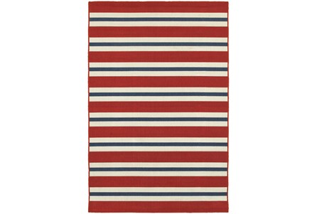 79X114 Outdoor Rug-Cabana Stripes Red