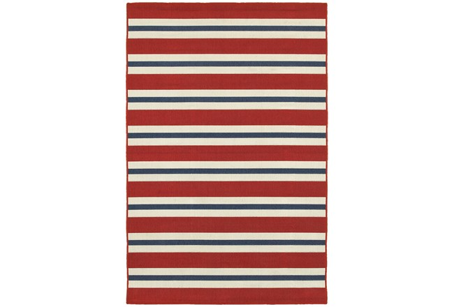 79X114 Outdoor Rug-Cabana Stripes Red - 360