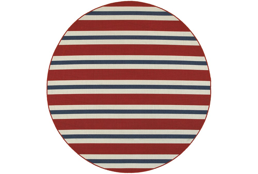 94 Inch Round Outdoor Rug-Cabana Stripes Red