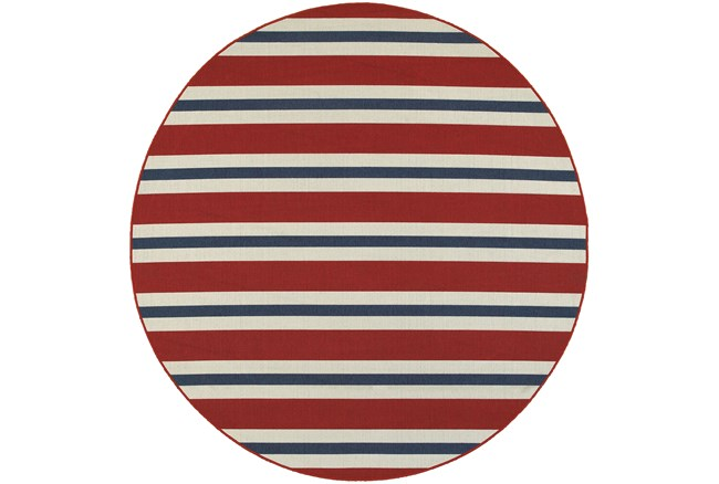 94 Inch Round Outdoor Rug-Cabana Stripes Red - 360