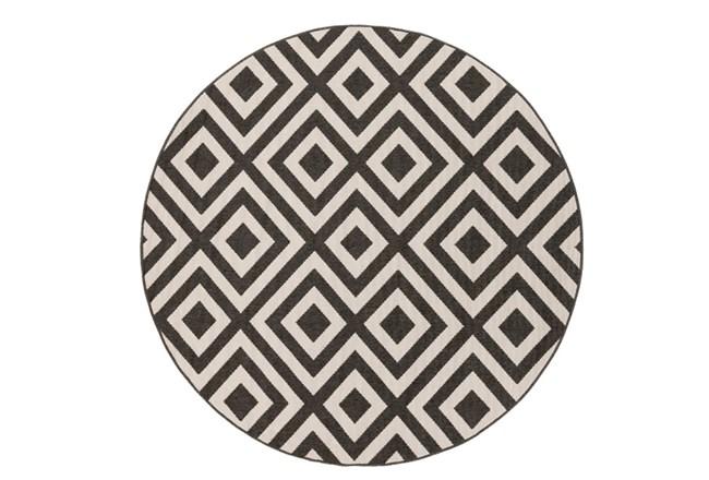 63 Inch Round Rug-Hortensia Black - 360