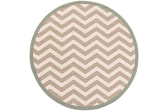 63 Inch Round Rug-Tendu Chevron Grey