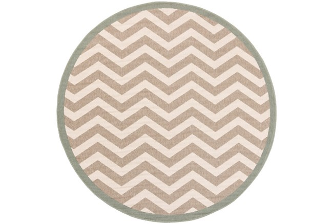 63 Inch Round Rug-Tendu Chevron Grey - 360