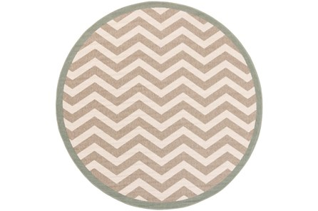 87 Inch Round Rug-Tendu Chevron Grey