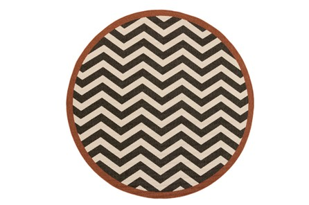 63 Inch Round Rug-Tendu Chevron Black
