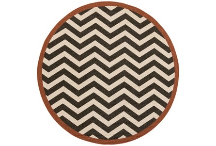 87 Inch Round Rug-Tendu Chevron Black