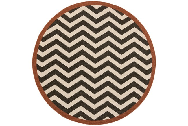 87 Inch Round Rug-Tendu Chevron Black - 360