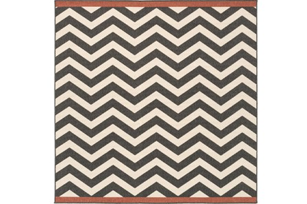 87X87 Square Rug-Tendu Chevron Black