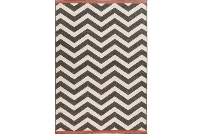 90X129 Rug-Tendu Chevron Black - 360