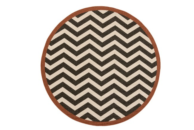 105 Inch Round Rug-Tendu Chevron Black - 360