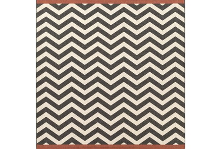 105X105 Square Rug-Tendu Chevron Black