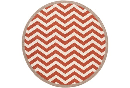 87 Inch Round Rug-Tendu Chevron Red