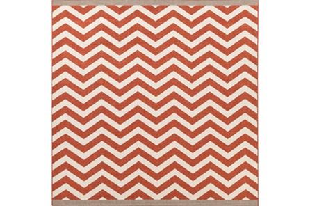 105X105 Square Rug-Tendu Chevron Red