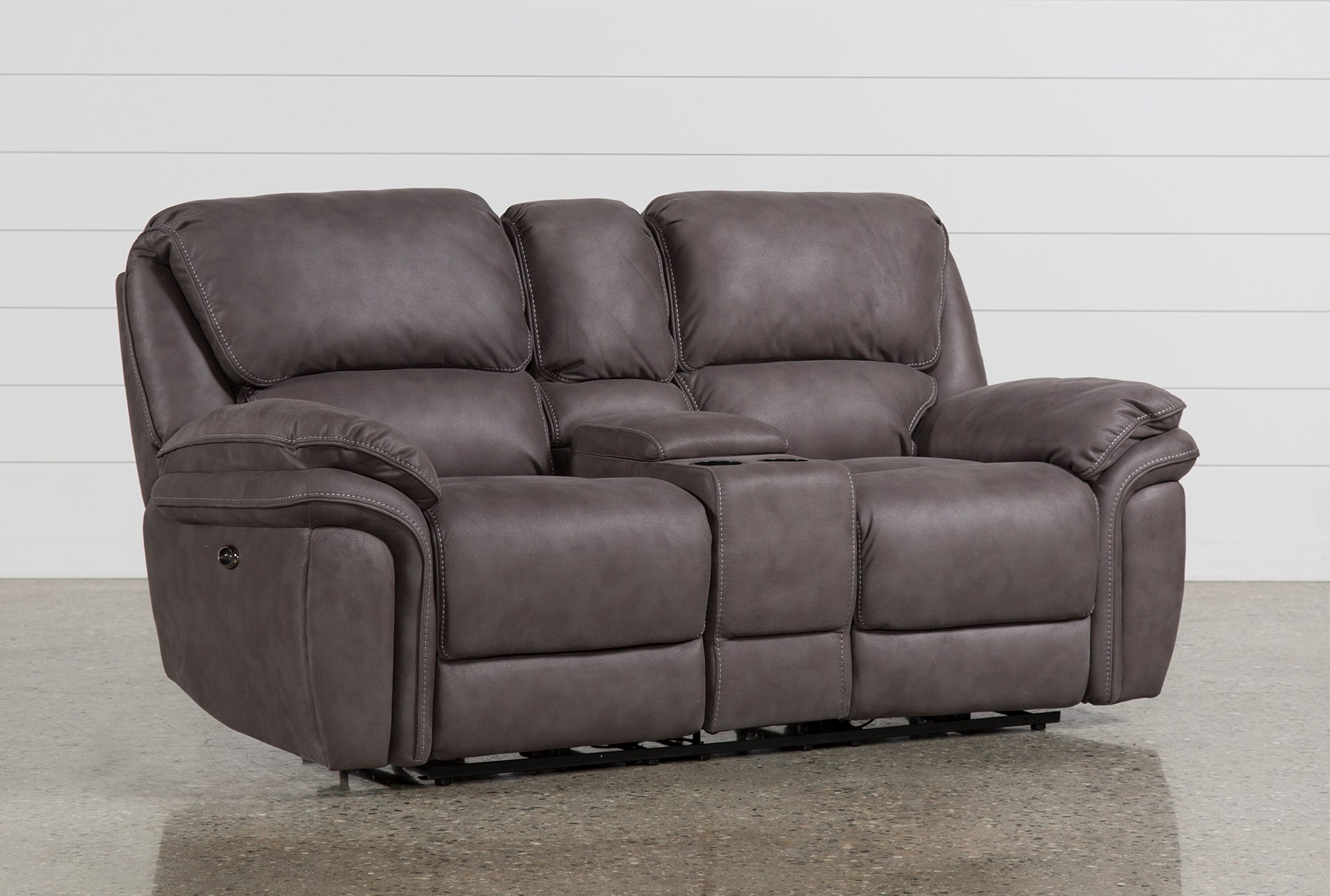 Norfolk Grey Power Reclining Loveseat Wconsole Living Spaces