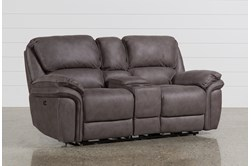 "Norfolk Grey 81"" Power Reclining Loveseat With Console"