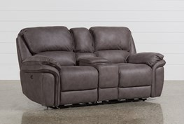 """Norfolk Grey 81"""" Power Reclining Loveseat With Console"""