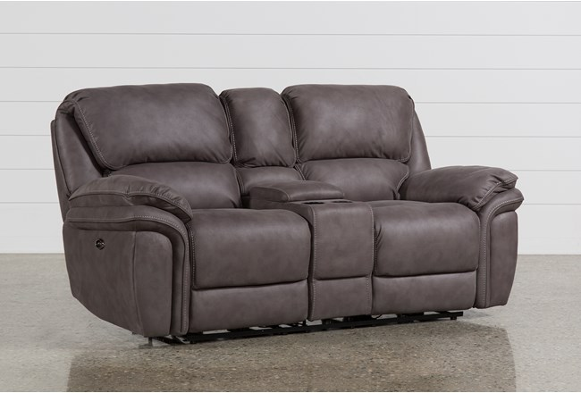 "Norfolk Grey 81"" Power Reclining Loveseat With Console - 360"