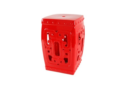 Red Ceramic Stool